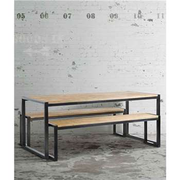 Chenier Industrial Dining Table with 2 Benches (76 x 190cm)