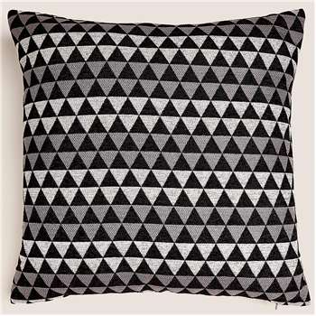 Chenille Geometric Medium Cushion, Black Mix (H50 x W50cm)