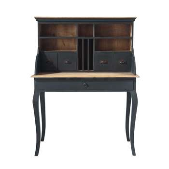 CHENONCEAU Wooden writing desk in black W 102cm