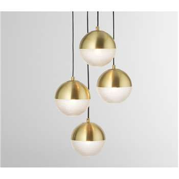 Cher Cluster Pendant Lamp, Textured Glass & Brass (H99 x W32 x D32cm)