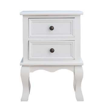 Cherry Tree Furniture 2-Drawer Bedside Table Cabinet, White (H49 x W35 x D31cm)