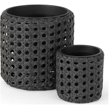 Chester Set of 2 Round Polyrattan Planters, Black (H45 x W43 x D43cm)