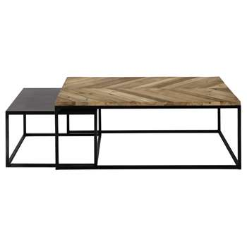 CHEVRON 2 metal and recycled wood nested coffee tables (45 x 120cm)