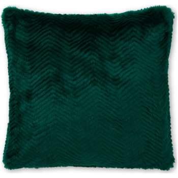 Chevron Faux Fur Cushion, Peacock Green (H45 x W45cm)