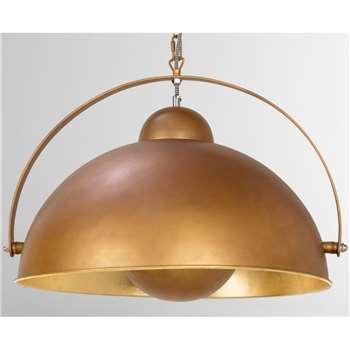 Chicago Large Pendant Light, Antique Copper and Gold (H153 x W55 x D55cm)