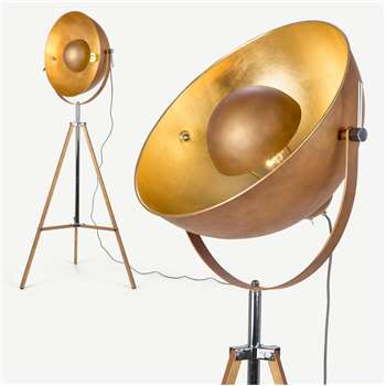 Chicago Tripod Floor Lamp, Antique Copper and Gold (H164 x W67 x D67cm)