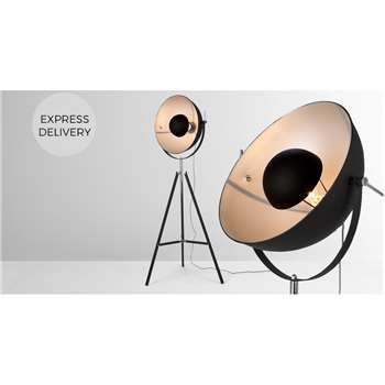 Chicago Tripod Floor Lamp, Black and Silver (H164 x W67 x D67cm)