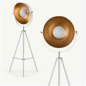 Chicago Tripod Floor Lamp, Muted Grey and Brass (H164 x W67 x D67cm)