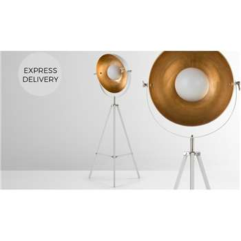 Chicago Tripod Floor Lamp, Muted Grey and Brass (H67 x W164cm)