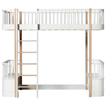 Oliver Furniture Wood Children's High Loft Bed in White & Oak (H176 x W97 x D214cm)