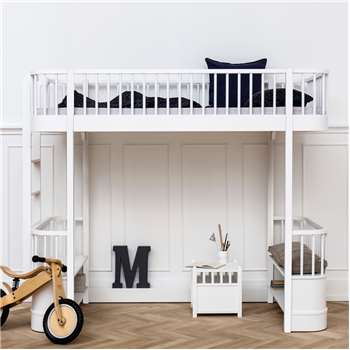 Children's Luxury High Loft Bed in White with Storage 176 x 214cm