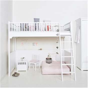 Children's Luxury Loft Bed in White 207 x 176cm