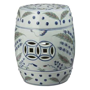 Chinese Barrel Seat, Iznik Design - Multi (H44 x W34 x D34cm)