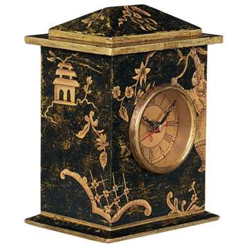 Chinoiserie Carriage Clock - Noir (17 x 12cm)