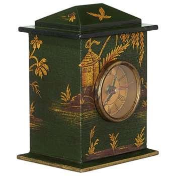 Chinoiserie Carriage Clock - Vert (17 x 12cm)