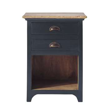 CHINON Mango wood bedside table with drawers in grey (60 x 45cm)