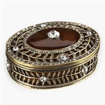 Chloe Jewelled Oval Box (H3.5 x W7 x D5cm)