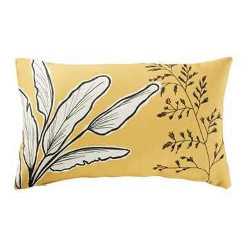 CHOBE Yellow Outdoor Cushion with Plant Print (H30 x W50cm)