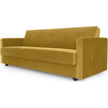 Chou Click Clack Sofa Bed with Storage, Vintage Gold Velvet (H82 x W214 x D113cm)