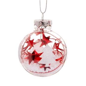 Christmas Tree and Stars Glass Christmas Bauble (H6 x W6 x D6cm)
