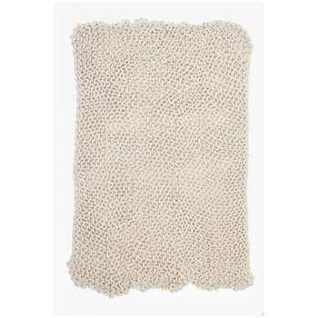 Chunky Knitted Throw - Cream (H150 x W120cm)