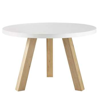CHUPPA - White Concrete and Oak 5-6 Seater Dining Table (H76 x W120 x D120cm)
