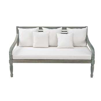 CHYPRE 3 seater acacia garden bench seat in grey