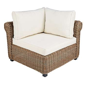 CIGALE Modular corner unit of garden sofa in resin wicker with ecru cushions (85 x 90cm)
