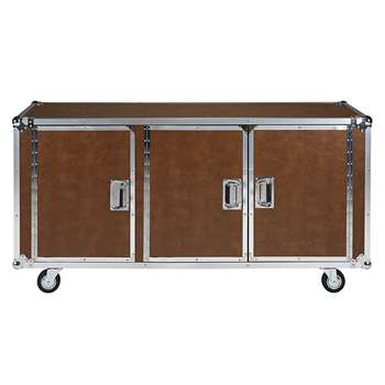 CINEMA Camel coated textile and metal 3-door sideboard on casters (78 x 157cm)