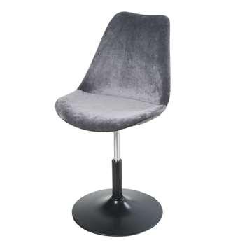 CIRCLE Adjustable Grey Velvet Desk Chair (H83 x W50 x D56cm)