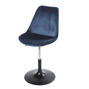 CIRCLE Adjustable Metal and Dark Blue Velvet Desk Chair (H83 x W50 x D55cm)