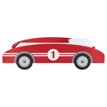 CIRCUIT Wooden 90 x 190cm child's car bed in red (Width 102cm)