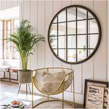 Circular Window Pane Mirror (H120 x W120 x D4.5cm)