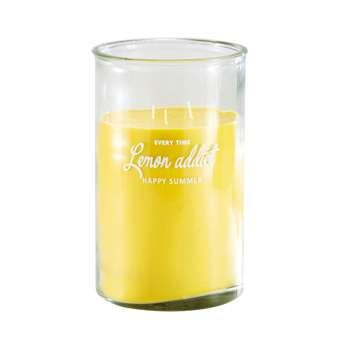 CITRUS Yellow 3-Wick Candle in Glass Holder (H29 x W18 x D18cm)