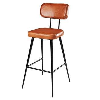 CLAPPER Brown goatskin and black metal bar chair (105 x 47cm)