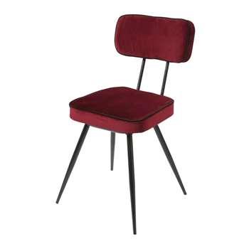 CLAPPER Burgundy Velvet and Black Metal Chair (H83 x W46 x D54cm)