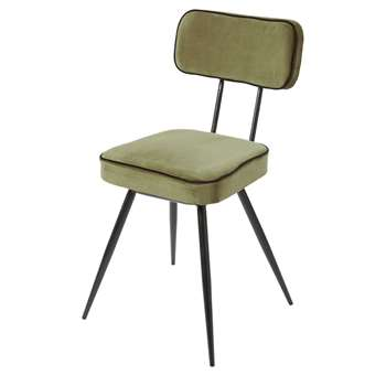 CLAPPER Khaki Green Velvet and Black Metal Chair (H83 x W46 x D54cm)