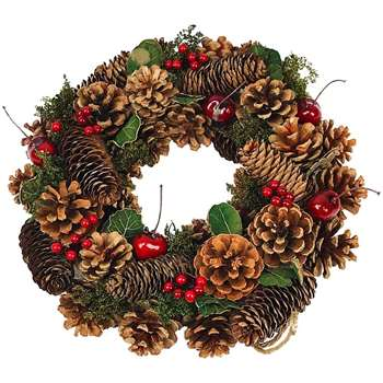 Clare Florist Classic Christmas Wreath with Pine Cones - Natural (Diameter 30cm)