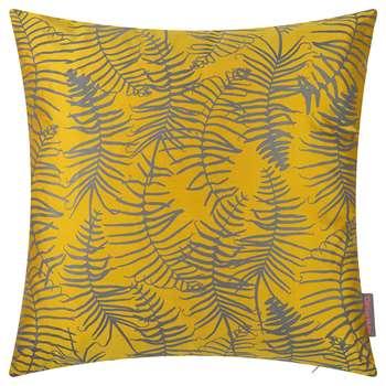 Clarissa Hulse - Feather Fern Cushion - 45x45cm - Turmeric/Storm