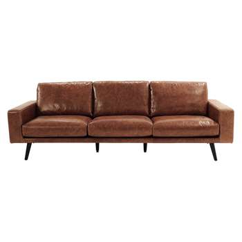 CLARK 4 seater leather sofa in cognac colour (81 x 248cm)