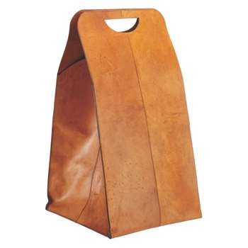 Clasp Brown leather laundry bag