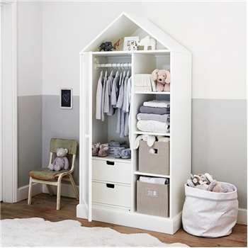 Classic House Wardrobe, White (130 x 89cm)