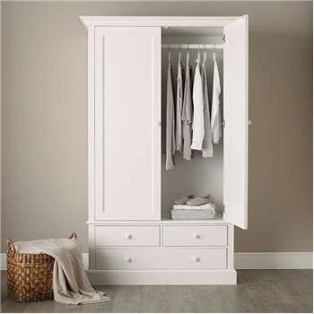 Classic Large Wardrobe, White (206 x 124cm)