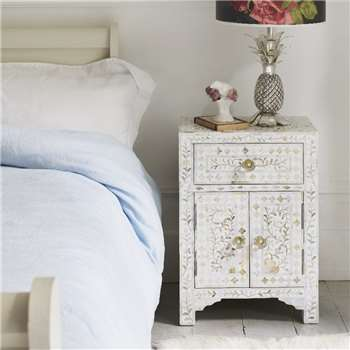 Classic White Mother Of Pearl Bedside Table (H60.5 x W43.5 x D30cm)