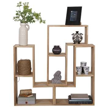 Classic Solid Oak Display Cabinet in Tetris Shape 54 x 80cm