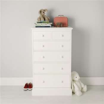 Classic Tallboy Chest of Drawers, White (H119 x W70 x D47cm)