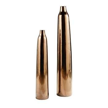 CLAUDIA - 2 Bronze Ceramic Vases (H114 x W18 x D18cm)