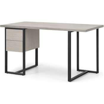 Claus Concrete Desk, Grey Concrete and Light Oak (H75 x W140 x D65cm)