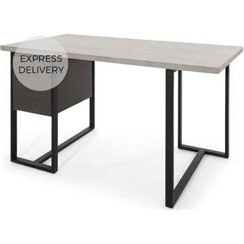 Claus Concrete Desk, Grey (H75 x W140 x D75cm)