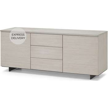 Claus Sideboard, Grey Concrete and Light Oak (H66 x W160 x D45cm)